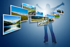 Foto di paesaggio su priorità bassa blu Immagini Stock