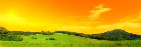 Foto di panorama del prato Fotografia Stock