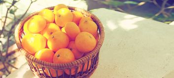 Foto di piccola dimensione di vista superiore della merce nel carrello della frutta arancio la retro ha copia Immagine Stock