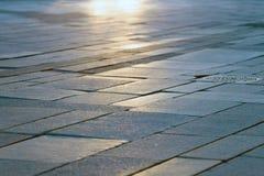 Foto di pietra del primo piano del marciapiede Fotografia Stock Libera da Diritti