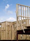 Foto di riserva della costruzione di alloggi del legno del blocco per grafici Immagine Stock