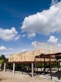 Foto di riserva della costruzione di alloggi del legno del blocco per grafici Immagini Stock