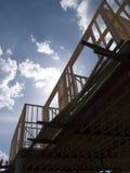Foto di riserva della costruzione di alloggi del legno del blocco per grafici Fotografie Stock