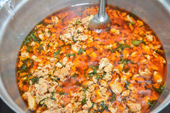 Foto di riserva - pollo fritto con basilico Fotografia Stock