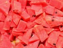 Foto di riserva - primo piano rosso maturo delle angurie Fotografia Stock Libera da Diritti