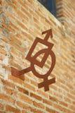 Foto di riserva - simboli maschii femminili sulla parete Fotografie Stock Libere da Diritti