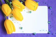 Foto di scorta di schede romantica dei tulipani Immagine Stock Libera da Diritti