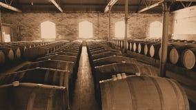 Foto di seppia dei barilotti di vino d'annata nelle file Immagini Stock