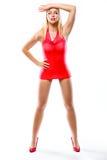 Foto di stile di moda della ragazza in mini vestito. Retouched Immagini Stock Libere da Diritti