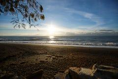 Foto di un'alba sopra il mare sulla spiaggia di sabbia vuota del ciottolo con un ramo di albero su una priorità alta Immagine Stock