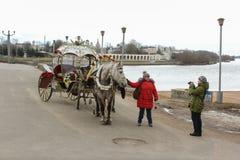 Foto di un cavallo con il trasporto Immagini Stock Libere da Diritti