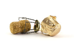 Foto di un champagne isolato o di accensione del sughero del vino Immagini Stock