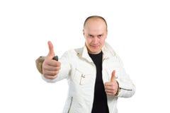 Foto di un uomo con i suoi pollici in su immagini stock libere da diritti