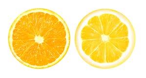 Foto di una fetta di limone e di arancia Immagini Stock Libere da Diritti
