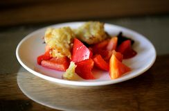 Foto di una macro dei peperoni e dei pancake Fotografia Stock Libera da Diritti