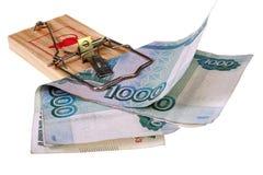 Foto di una trappola del topo con soldi come esca, concetto Immagini Stock Libere da Diritti