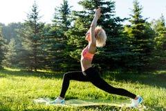 Foto di yoga di pratica della giovane donna riccio-dai capelli di sport sulla coperta in parco Immagini Stock Libere da Diritti
