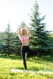 Foto di yoga di pratica della giovane donna riccio-dai capelli di sport sulla coperta in parco Immagini Stock