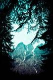 Foto die een mooi humeurig ijzig bergachtig landschap afschilderen Royalty-vrije Stock Afbeelding