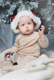 Foto do bebê bonito no chapéu de Santa Imagem de Stock Royalty Free