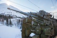 Canhão que permanece na baía Imagem de Stock