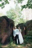 Foto do casamento dos noivos em uma cor cinzento-cor-de-rosa na natureza na floresta e nas rochas foto de stock royalty free