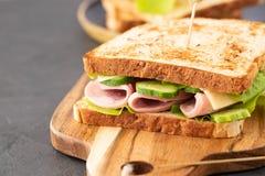Foto do close-up de um sanduíche de clube Sanduíche com reunião, prosciutto, salame, salada, vegetais, alface em um fresco cortad fotografia de stock