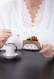 Foto do close up do café e do bolo Foto de Stock