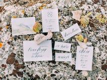 A foto do close-up dos cartão diferentes colocados na pedra e decorados com ervas diferentes Imagens de Stock Royalty Free