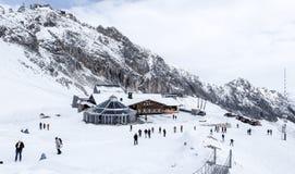 Foto do curso de Zugspitze - o pico o mais alto de Germany's Imagens de Stock Royalty Free