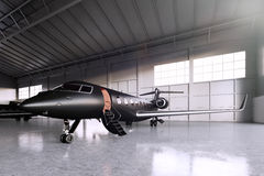 Foto do estacionamento preto do jato de Matte Luxury Generic Design Private no aeroporto do hangar Assoalho concreto Curso de neg ilustração royalty free
