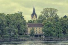 Foto do estilo antigo de uma torre de igreja Imagem de Stock