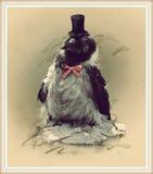 Foto do estilo do vintage do corvo engraçado Imagens de Stock