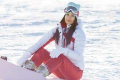 Foto do inverno dos esportes morenos fotografia de stock royalty free