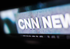 Foto do logotipo do CNN em uma tela de monitor da tevê Fotografia de Stock