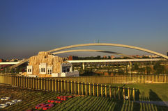 Foto do panorama de HDR da vista da parte superior do grande pavilhão do russo na EXPO 2015 de Milão Foto de Stock