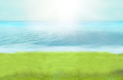 A foto do paraíso da praia da grama verde e 3D rendem o fundo Fotos de Stock Royalty Free