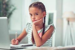 Foto do retrato do close-up do aluno pequeno bonito afro-americano que faz trabalhos de casa fotos de stock
