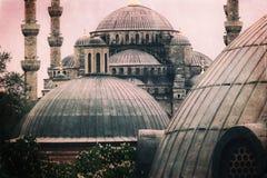 Foto do vintage da arquitetura azul da mesquita de Sultanahmet fotos de stock royalty free