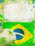Foto do vintage da bola de futebol Brasil 2014 Imagens de Stock