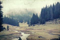 Foto do vintage de um vale nevoento da montanha Imagens de Stock
