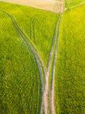 Foto do zangão da estrada entre campos na mola adiantada colorida fotos de stock royalty free