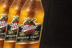 Foto editoriale delle bottiglie di Miller Genue Draft Beer del primo piano su fondo di legno scuro immagini stock libere da diritti