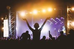 Foto einer Menge, die Leute, die Rockkonzert genießen, hob oben Hände und das Klatschen des Vergnügens, aktives Nachtlebenkonzept stockbilder