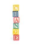 Foto eines Alphabetes blockiert Rechtschreibung ÄNDERUNGS-Isolat auf weißem Hintergrund Stockbilder