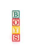 Foto eines Alphabetes blockiert Rechtschreibung JUNGEN-Isolat auf weißem Hintergrund Lizenzfreie Stockbilder