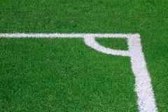 Foto eines grünen synthetischen Grassportfeldes mit der weißen Linie SH Lizenzfreies Stockbild