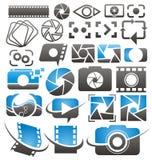 Foto en videopictogrammen, symbolen, emblemen en tekensinzameling l Stock Foto's