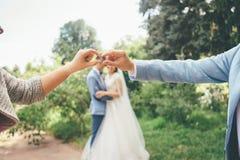 Foto engraçada do casamento com recém-casados e anéis borrados foto de stock