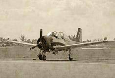 Foto envejecida del aeroplano de WWII imagen de archivo